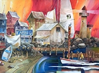 Quiet Mooring by Chuck McPherson Watercolor ~ 22 x 30