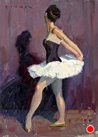 Burgundy Dancer by Eric Bowman Oil ~ 12 x 9