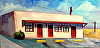 "Next Motel 60 miles by Janice Druian Oil ~ 8"" x 16"""