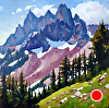 Deep In the Cascades by Janice Druian Oil ~ 20 x 20""