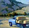 "Blue Truck by Janice Druian Oil ~ 6"" x 6"""