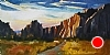 "Smith Rock, Cold Winter Light by Janice Druian Oil ~ 8"" x 16"""