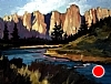 "Smith Rocks, From Down By the River by Janice Druian Oil ~ 11"" x 14"""