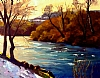 "Deschutes Near Warm Springs, Late Autumn by Janice Druian Oil ~ 16"" x 20"""