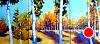 """Aspens Triptych by Janice Druian Oil ~ 25"""" x 55"""""""