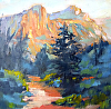 "FIRST LIGHT, DRUIAN 2012 by Janice Druian Oil ~ 6"" x 6"""