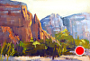 "Morning Walk In the Red Rock by Janice Druian Oil ~ 5"" x 7"""