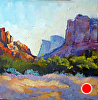 "OUT AT SUNRISE, DRUIAN 2012 by Janice Druian Oil ~ 6"" x 6"""