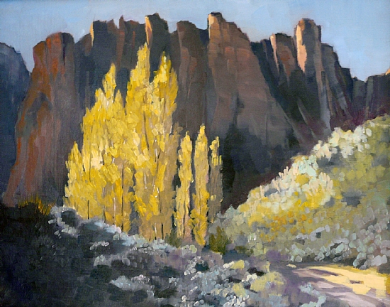 """Autumn Poplars (Leslie Gulch) by Janice Druian Oil ~ 16"""" x 20"""