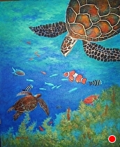 "Sea Turtle by Silvia Forrest Acrylic ~ 24"" x 20"""