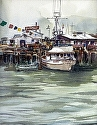 "Scoma's by William Dunn Watercolor ~ 13.5"" x 10.5"""