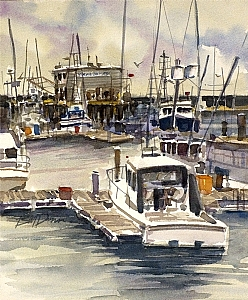"Morning Star Fishery by William Dunn Watercolor ~ 14"" x 11.5"""