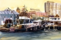 Wharf by William Dunn Watercolor ~ 14.5 x 22