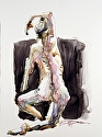 "Kneeling Woman by William Dunn Graphite and Watercolor ~ 11"" x 8"""