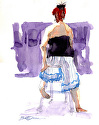 Striped Pants by William Dunn Watercolor ~ 14.5 x 11""