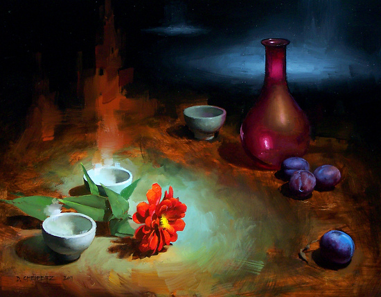 Teacups and Searchlights by David Cheifetz Oil ~ 11 x 14