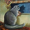 "The Christmas Cat by Nancy Park Oil ~ 14"" x 11"""