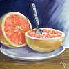 "News Flash! Grapefruit eats Spoon! by Nancy Park Oil ~ 8"" x 10"""