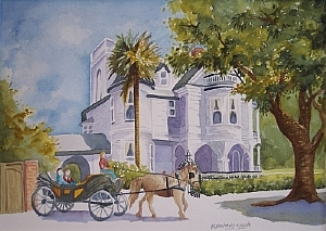 #2 Meeting Street, Charleston, SC by Lu Bentley Watercolor ~ 12 x 16