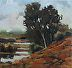 "Red Hill Sentinel 2x2 by LYNNE FEARMAN Oil ~ 2"" x 2"""