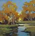 "Golden Reflections by LYNNE FEARMAN Oil ~ 3"" x 3"""