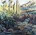 """DESERT SENTINELS by Lynne Fearman Oil ~ 3"""" x 3"""""""