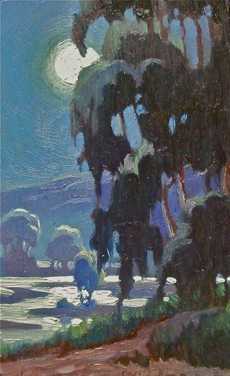 """Wetland Moonlight by Lynne Fearman Oil ~ 5"""" x 3"""""""
