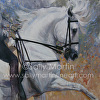 Grey in Blue & Gold by Sally Martin Oil ~ 26inch x 26inch