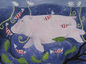 "Hippo Hooray by julia cairns Watercolor ~ 12"" x 16"""